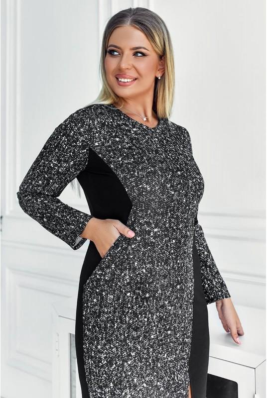платье с разрезом, комбинированное платье